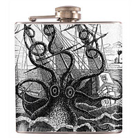 Liquor Hip Flask Stainless Steel Octopus Attacking Ship 6 oz (F-141)