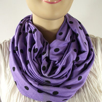 Polkadots Infinity Scarf.... Purple Lilac and Black....Upcycle Cotton Jersey....Circle scarf....Loop Scarf...Nomad Cowl...Super Soft
