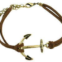 Brown Leather Antique Bronze Anchor Bracelet wholesale