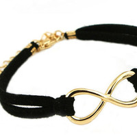 Hot Black Double Leather Infinity Bracelet wholesale