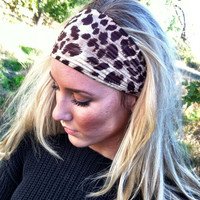 Leopard Headband Stretchy CRINKLED Animal Print Leopard Headband Wide Turband Headband Hair Wrap
