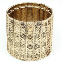 Antique Gold Carving Statement Wide Stretchy Bangle Bracelet wholesale