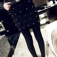 Black&amp;gray Special Slim Nail Women Skirt Leggings 330g