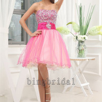 A-line Sweetheart Knee-length Tulle and Cocktail Dress with Color beads
