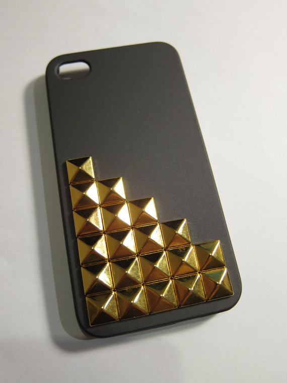 Studded Dark Grey matte Hard Case Cover iPhone 4 4S / by clairepei