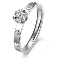 Cubic Zirconia Inlaid Stainless Steel Women's Engagement Ring: Jewelry: Amazon.com