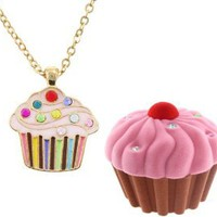Cupcake Crystal & Enamel Pendant Necklace in Figural Gift Box: Jewelry: Amazon.com
