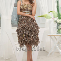 Panther print   Chiffon A-line One Shoulder Knee-length Chiffon Cocktail Dress
