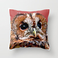 DON'T GIVE A HOOT Throw Pillow by catspaws | Society6