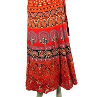 Amazon.com: Wrap Around Skirt, Hippie Boho Indie Red Sarang Print Long Cotton Wrap Skirt, Peasant Skirt: Clothing