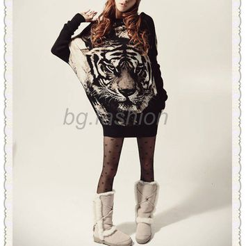 Sz S-XL Womens Dress Long Sleeve Knitted Sweater Casual Batwing Tiger Loose Tops