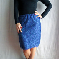 Blue lace pencil skirt - lace skirt blue skirt knee length skirt tube skirt womens skirt