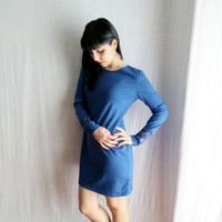 Blue jersey dress with lace accents - long sleeve dress lace dress fitted dress mini dress blue dress womens clothing tunic dress