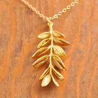 Gold Branch Necklace - gold leaf necklace, twig necklace, nature necklace, real branch necklace
