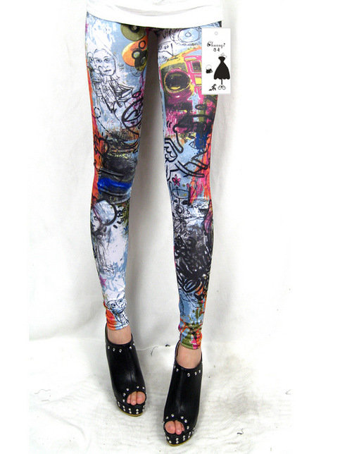 *Free Shipping* Couples Graffiti Leggings Women Thin Leggings MCXS106 from clothingloves