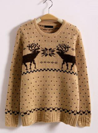 X' mas Deer Vintage Round Neck Sweater Brown  S008822
