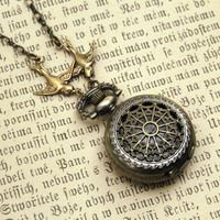 $30 Small Pocket Watch Necklace RagTraderVintage.com