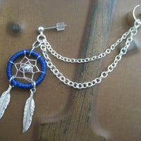 Navy Blue Dream Catcher Ear Cuff Chain Cartilage Earrings Thread Dreamcatcher Earcuff Piercing Stud