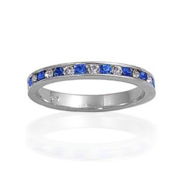 Bling Jewelry Sterling Silver September Blue Sapphire CZ Eternity Ring: Jewelry: Amazon.com