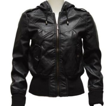 Clothes Effect Ladies Black Synthetic Hooded Leather Jacket