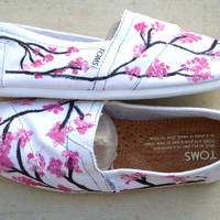 The Sophie  Cherry Blossom Custom TOMS by FruitfulFeet on Etsy
