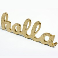 holla handmade wood sign