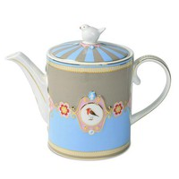 ACHICA | PiP Studio Love Birds Teapot, Blue/Khaki