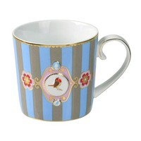 ACHICA | PiP Studio Love Birds Senseo Mug, Blue/Khaki Stripes
