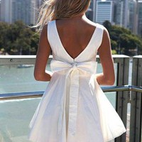 White Sleeveless Mini Dress with Oversized Back Bow