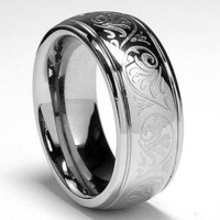 Amazon.com: 7MM Stainless Steel Ring With Engraved Florentine Design Size 6: Jewelry