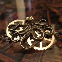 Steampunk Octopus and Gears Barrette by punqd on Etsy