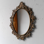 Oval Wall Mirror in Vintage Brass Italian Frame 13 by 9 Inches