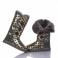 Ugg 1873 Bailey Button Triplet Boots Golden Grid Outlet UK