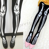 Women's Halloween Skeleton Bone Tights Goth Punk Pantyhose K3