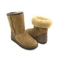 Chestnut Leopard Ugg Short Boots 5825 Outlet UK