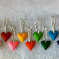 4 Wool Felt Heart Christmas Ornaments Any Colors by RainbowNest