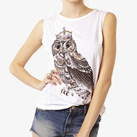 White Owl Print Top at Fashion Union