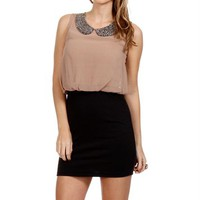 Taupe/Black Bib Collar Tunic