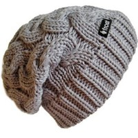 Amazon.com: Frost Hats Winter Hat for Women GRAY Slouchy Beanie Cable Hat Knitted Winter Hat Frost Hats One Size Black: Clothing
