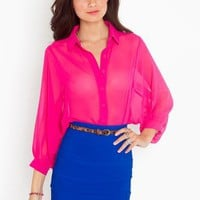 Chiffon Crop Blouse - Magenta in  What&#x27;s New at Nasty Gal