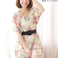 Round Collor Spring Fashion Flower Dresses : Wholesaleclothing4u.com