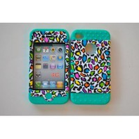 Amazon.com: Colorful Leopard on Teal Silicone Iphone 4 4g 4s 2 in 1 Rubber Cover Case: Cell Phones & Accessories