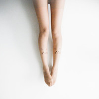 S/M Kitty Tattoo Tights- Nude