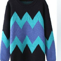 Hit color diamond-shaped geometric round neck hedging loose sweater FS20 from Fashion Accessories Store