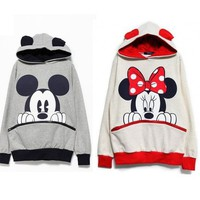 New Womens Fashion Cute Mouse Print Ears Loose Couple Hoodie Jacket 2 Color E427