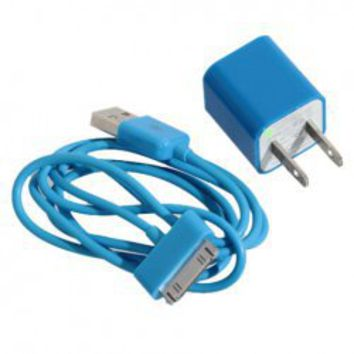Mini 2 in 1 Charger Kit (US Standard USB Power Apdater + USB Cable) for iPhone 4/4S/3GS/3G (Blue)