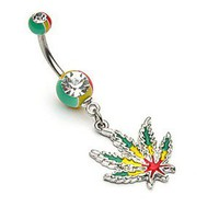JAMAICAN RASTA POT LEAF BELLY RING NAVEL MARIJUANA WEED BUTTON PIERCING B2