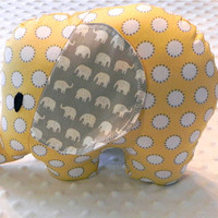 Yellow and Gray Polka Dot and Small Elephants Stuffed Elephant