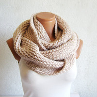 Handmade knited infinity scarf Block Infinity Scarf. Loop Scarf, Circle Scarf, Neck Warmer. Vanilla Crochet Infinity