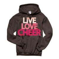 Amazon.com: Live Love Cheer Hoodie Sweatshirt (Large, Chocolate): Clothing